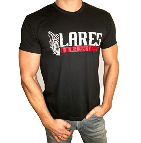 Athletic Fit-t-shirt (Lares Familiares, Herren Sport T-Shirts, Wolf, Schwarz, 100% Cotton, Athletic Fit, Gym Fitness, Training, Kurzarm,)