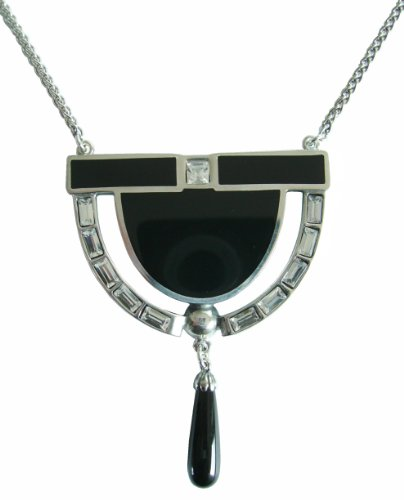 Art Deco Damen Collier Onyxabhängung 925 Silber