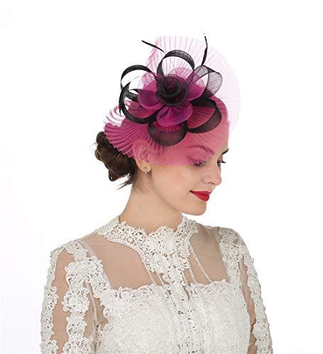 Lucky Leaf Fascinators Hut Blume Mesh Bänder Federn auf einem Stirnband und einem geteilten Clip Cocktail Tea Party Hochzeit Kirche Headwear für Mädchen und Frauen Braut (6-Rose Rot)