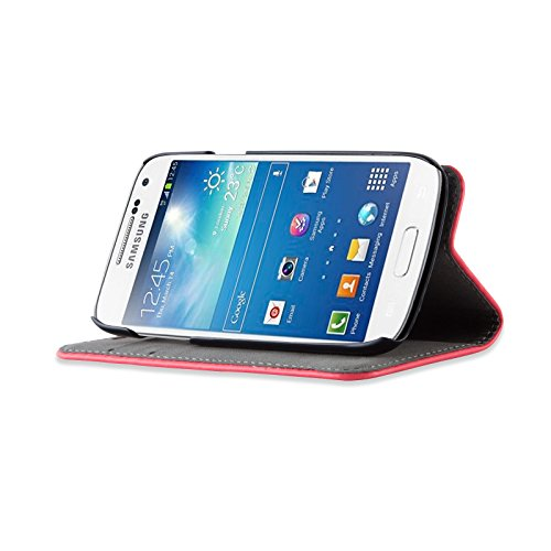 JAMMYLIZARD   Housse iPhone 6 6s écran 4.7 pouces étui portefeuille à rabat stand vidéo range cartes aspect cuir, Bleu marine ROUGE FRAMBOISE