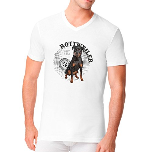 Im-Shirt - Hunde Motiv: Rottweiler Foto cooles Fun Men V-Neck - verschiedene Farben Weiß