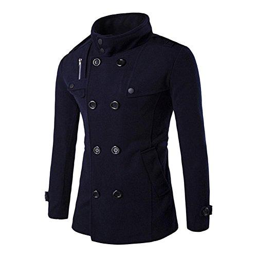 Vêtements homme, Yogogo 4 couleurs Mode Hommes Automne hiver Bouton double rangée Manteau Marine