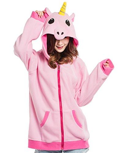 Felpe con cappuccio con zip, tema: unicorno rosa, unisex cosplay animale per altezze da 140 a 187 cm