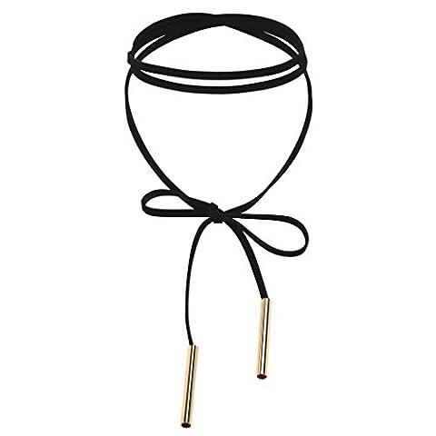 KnSam Ras du Cou Choker Collier Acier Inoxydable Velours Cuir Long Bow Tie Or Noir