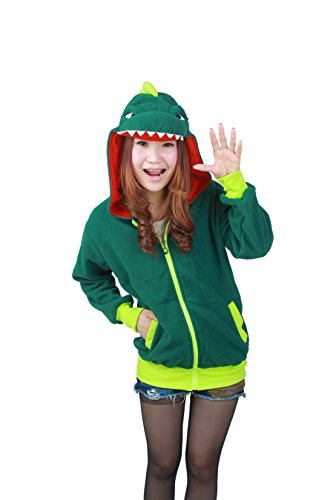 Casa Unisex Cartoon Jacke Pyjama Tieroutfit Seitentaschen Reißverschluss Mit Kapuze Tier Cosplay Sweatshirt Halloween Kostüm Hoodies Dinosaurier(L, Dinosaurier) (Dinosaurier Hoodie Kostüm)