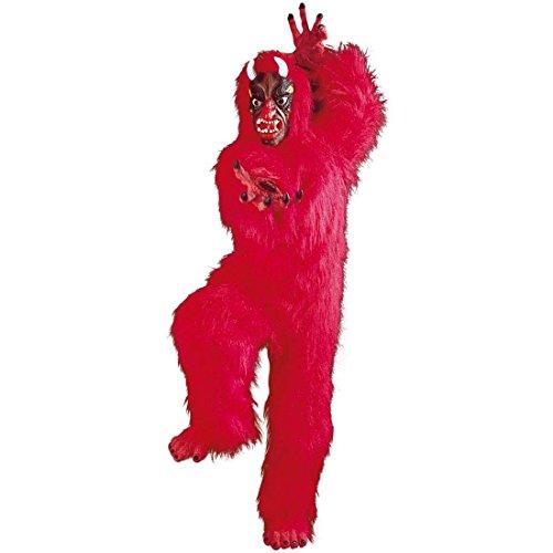 NET TOYS Plüsch Teufelskostüm Teufel Kostüm Plüschfell Plüschkostüm Satan Ganzkörperkostüm Gorilla Devil Faschingskostüm Fastnacht Karnevalskostüm Halloween Maskottchen - Plüsch Maskottchen Kostüm
