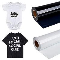 NEWLUK DIY Hot Press Sticker Transfer Film, Vinyl Heat Transfer Iron On DIY Garment Film Silhouette Paper Art,DIY Heat Press Design for T-Shirt, Clothes, Hats & Other Textiles (White-B 12in x 12ft)