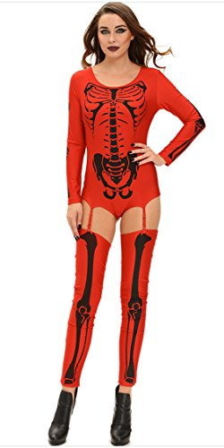 Honeystore Damen U-Ausschnitt Halloween Kostüme Langärmelig Skelett Cosplay Allerheiligen Kleider Rot LC8948