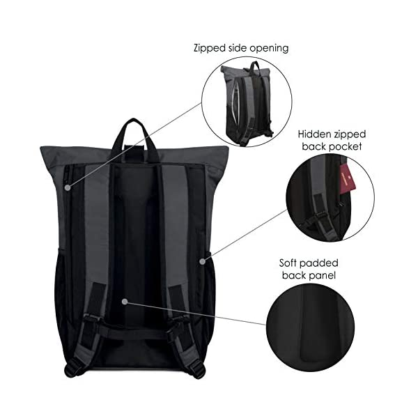 41D8QR7c XL. SS600  - Rolltop Rucksack Damen & Herren - LARK STREET No 2 Tagesrucksack aus recycelten PET-Flaschen - Backpack für Freizeit, Uni & Schule - Schulrucksack Teenager Wasserabweisend & Laptopfach 15,6 Zoll