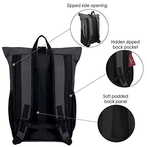 41D8QR7c XL - Rolltop-Rucksack-Damen-Herren-LARK-STREET-No-2-Tagesrucksack-aus-recycelten-PET-Flaschen-Backpack-fr-Freizeit-Uni-Schule-Schulrucksack-Teenager-Wasserabweisend-Laptopfach-156-Zoll