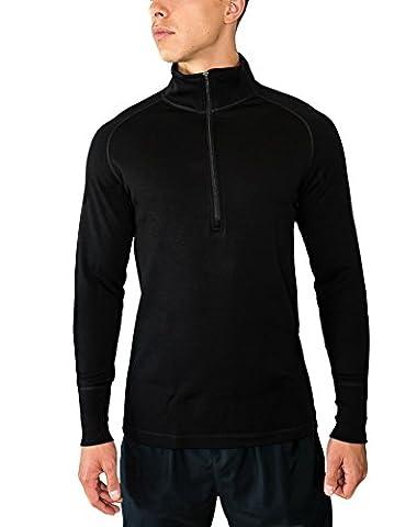 WoolX X704 Mens Heavyweight 1/4 Zip Top - Black - SML