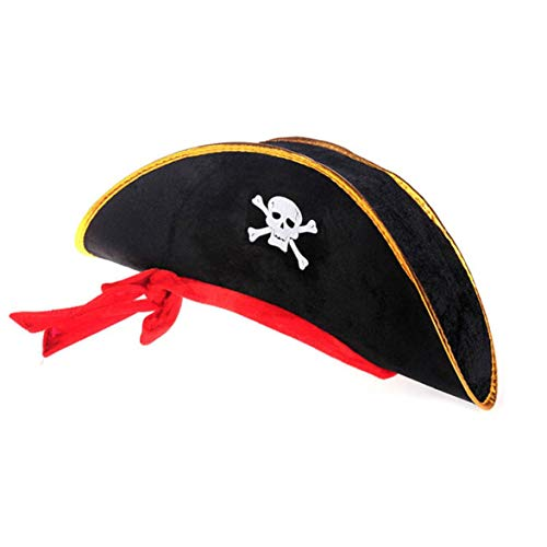 Kongqiabona Halloween Prom Zubehör Piratenkapitän Hut Schädel Crossbone Design Cap Maskerade Show Requisiten Rollenspiel Requisiten (Offenbaren Halloween Geschlecht)