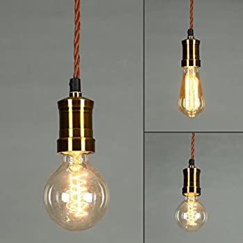4m Rose Gold Fabric Cable Plug In Pendant Light E27 Copper Fitting Glob