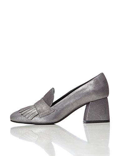 FIND Schuhe Damen mit Schlangenleder-Optik und Tasseln, Silber (Silver), 39 EU