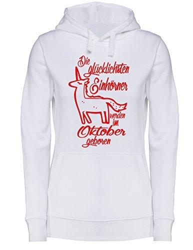 Die Glücklichsten Einhörner werden im Oktober geboren! Perfektes Geschenk zum Geburtstag - Damen Hoodie Weiß/Rot