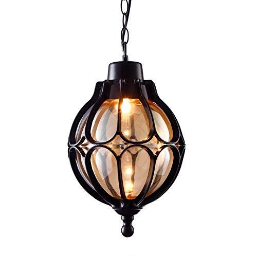 Vintage IP44 Aussenlampe Pendelleuchte Außen Innen Schwarz Aluminium und Glas Schatten Laterne Pendellampe Höhenverstellbar Industrie Retro-Lampe Kugel-Design Deckenleuchte,φ18*33CM