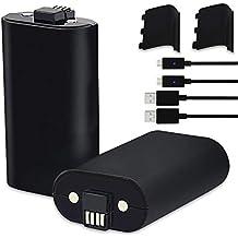 2 Batteries pour Manette Xbox One/One S/One X/One Elite 1200 mAh Batteries Rechargeables avec 2 Câbles de Charge