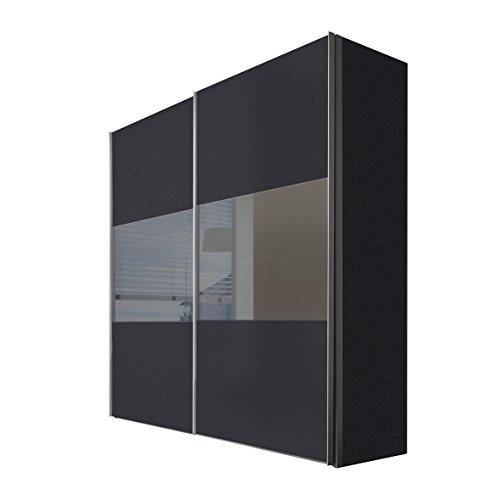Express Möbel Schwebetürenschrank 200 cm Graphit Nachbildung, 2-türig, Absetzung Grauspiegel, BxHxT 200x236x68 cm, Art Nr. 46890-973