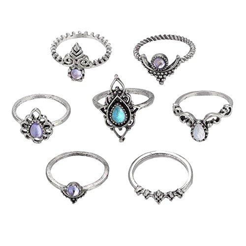 Schmuck Damen-Ring, Dragon868 7pcs / Set Bohemian Vintage Silber Stack Ringe über Knöchel Blau Ringe Set (Silber) -