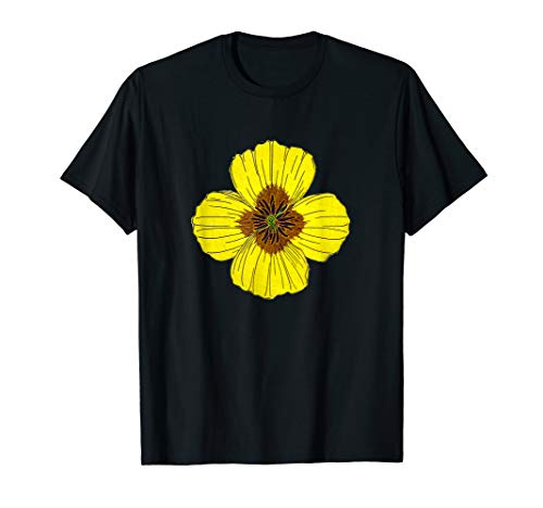 California Poppy Flower Botanical Wildflower  T-Shirt -