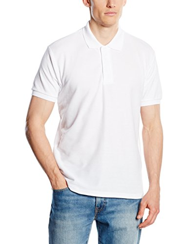 Fruit of the Loom Herren Poloshirt SS033M, Weiß, L (Loom Fruit Hanes)