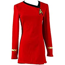 """Disfraz de Uniforme de mujer de """"Star Trek"""" color rojo"""