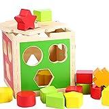B&Julian Steckspiel aus Holz mit bunt Formenwürfel in Steckbox Sortierspiel 16 Teile