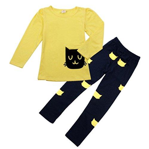 Amlaiworld Bambini Autunno Vestito,Ragazza Cute Cartoon Cat camicia + Pantaloni tuta (giallo, 110)