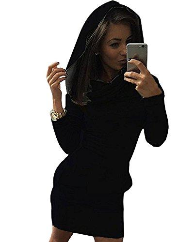 Minetom Femme Automne Hiver Sweats à Capuche Pull Hoodie Hauts Veste Sweatshirt Pullover Jumper Tops Blouse Noir FR 36