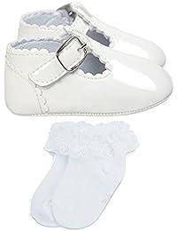 ESTAMICO Zapatos bebé niña primeros pasos, Zapatos y calcetines blancos del bautismo del bebé