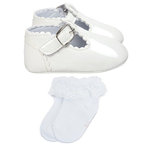 Estamico,Chaussures premier pas bébé fille,Blanc Chaussures et chaussettes de bébé fille baptême,12-15 Mois