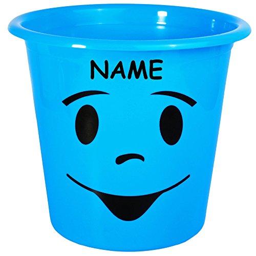 1 Stück _ Papierkorb / Behälter -  lustiges & lächelndes Gesicht - NEON blau  - incl. Name - 5 Liter - aus Kunststoff - Mülleimer Eimer / auch als Blumentop..