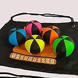 PassePasse jongler Kit Flash professionale palle da giocoliere (6 lati), in simil pelle, completo con borsa porta-palline giocoliere Pro