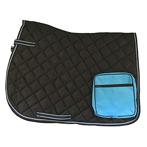 netproshop Wanderschabracke Satteldecke mit Tasche für Wanderreiten, Auswahl:Schwarz/Hellblau