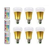 [6 Pack] LED RGBW Lampe mit Fernbedienung, BOLWEO 10W E27 12 Farben Farbige Leuchtmittel LED Lampe Dimmbare Birne mit RGB Farbwechsel Inklusive Fernbedienung Dimmbar Multicolor Glühbirne - RGB + Weiß [Energieklasse A++]