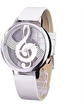 oumosi Frauen Hohl Musik Symbol Armbanduhr Casual Quarzuhr weiß