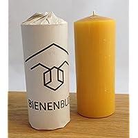 2 Stück Kerzen, 15 x 6 cm, Stumpenform, aus 100 % Bienenwachs handgemacht, gegossen, mit langer Brenndauer, Bienenwachskerzen, Bienenwachskerze, Honigkerze, Bienenkerze, direkt vom Imker aus Deutschland, Bayern, von der Bienenbude
