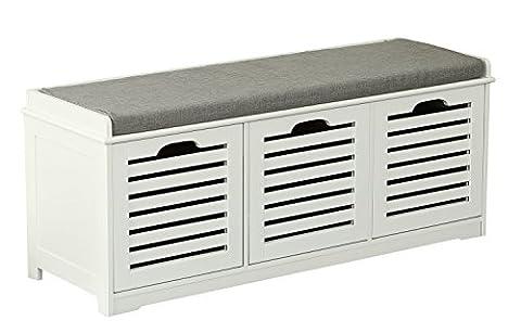 Orolay Moderne Schuhtruhe Sitzkommode Mit 3 Körben Sitzbank Schuhschrank Weiß