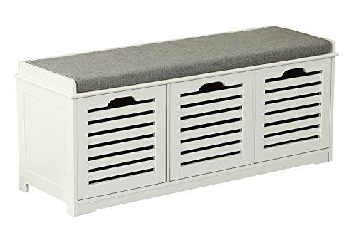 Orolay Banco de Almacenamiento con Acolchados Cojines y 3 Cubos Entrada Zapato Gabinete Dresser Cómodo