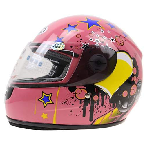 Casco moto bambini casco anti-collisione anti-collisione bambini casco moto integrale con copricollo Casco invernale per casco moto e ragazze motocross