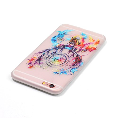CaseHome iPhone 6 Plus/6S Plus 5.5'' Luminous Hülle (Mit Frie Displayschutzfolie) Leuchtende Silikone Rückhülle Für iPhone 6 6s Plus 5.5 Zoll Zoll Silikon Etui Handy Hülle Weiche Transparente Luminous Bunte Traumfänger
