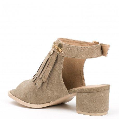 Ideal Shoes - Bottines à franges peep toe ouvertes à l'arrière effet daim Balia Taupe