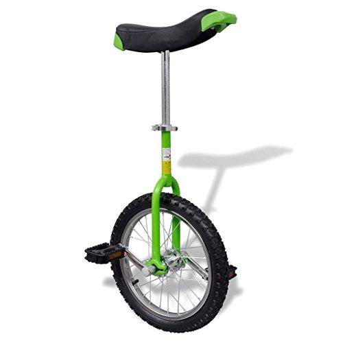 vidaXL Monocycle Ajustable Vert 16 Pouces pour Enfants Jeunes Monocycles Débutants