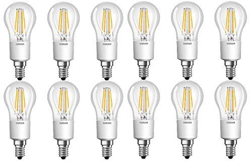 12x Osram LED Retrofit LED-Lampe Classic P40 Dimmable 4,5W-40W 470lm E14 EEK A++