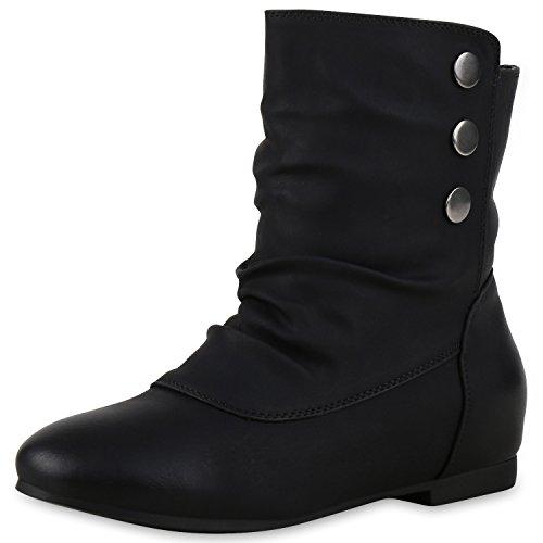 Schlupfstiefel Damen Schuhe Stiefeletten Warm Gefüttert Stiefel Nieten Schwarz Nieten 41 Jennika