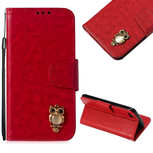 CESTOR Handytasche für iPhone 7/8,Niedlich 3D Eule Magnetisch Flip PU Leder Brieftasche Kartenfach Slot und Faltbar Standfunktion Weich Silikon Tasche für iPhone 7/8,Rot
