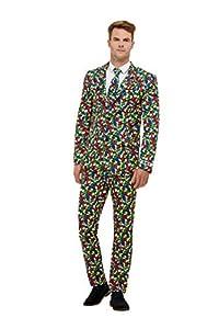 Smiffys 40389L Rubik - Traje de cubeta oficial para hombre, multicolor, talla L, 106,68-111,76 cm