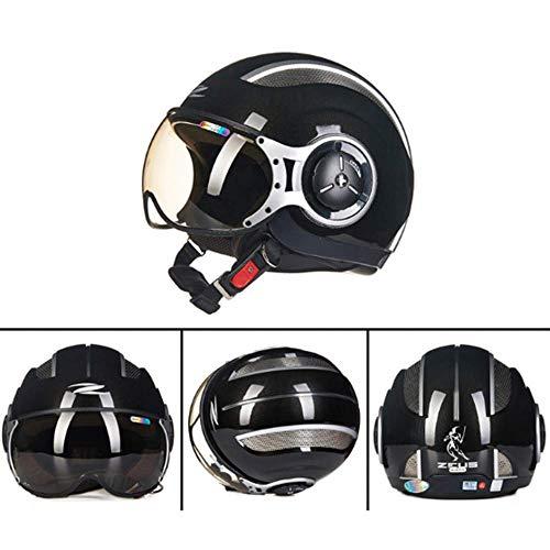 WJ Motorradhelm, Halber Helm, Fliegender Helm, MOMO Style Atmungsaktives Anti-Schwenk-Half-Cover Für Herren Und Damen, Schwarz,L (Helm Fliegende)