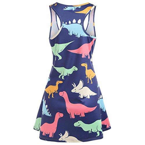 Wawer Summer Mini Dresses Women  Lady Dinosaur Print Tunic Tank Dress Holiday Casual Sleeveless Dresses Princess Dress Party Cocktail Evening Beach  S  Blue