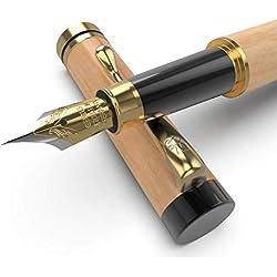 Wordsworth & Bläck - Pluma estilográfica de lujo de madera con funda a juego para regalo, 100 % hecho a mano, colección vintage